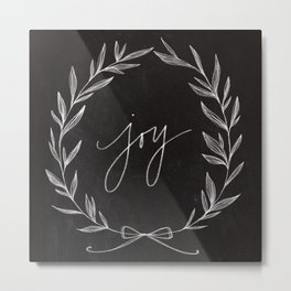 Chalkboard Art - Joy Wreath Metal Print