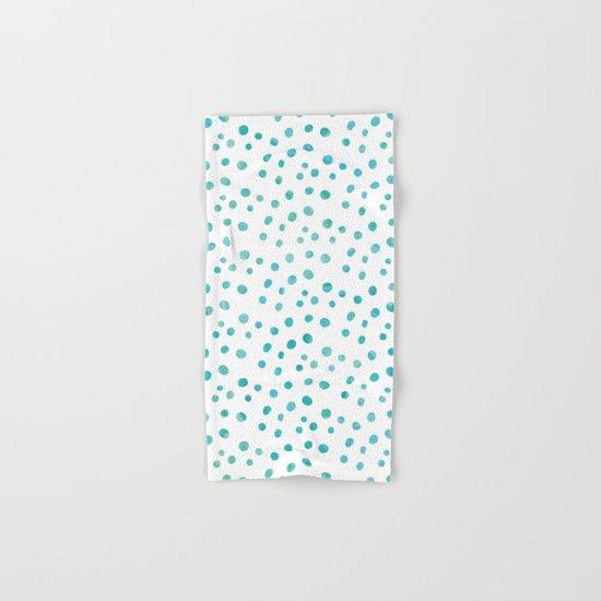Small Blue Watercolor Abstract Polka Dots Hand & Bath Towel
