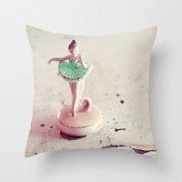 ballerina Throw Pillows featuring ballerina by elle moss
