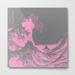 The Great Wave Pink & Gray Metal Print