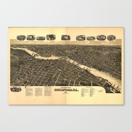 Vintage Map of Rockford Illinois (1891) Canvas Print