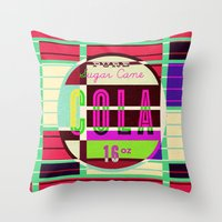 cocaine Throw Pillows featuring Cola - Vintage Soft Drink by Fernando Vieira