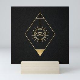 Mystic Eye Symbol Gold And Black Mini Art Print