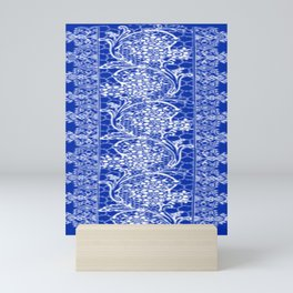 Vintage Lace Sapphire Blue Mini Art Print