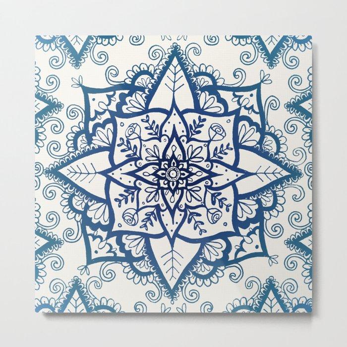 Blue Floral Pattern on Cream Metal Print