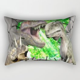 3D Dinosaurs and Broken Wall Rectangular Pillow