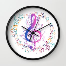 Treble Clef In A Circle Of Music Notes Wall Clock
