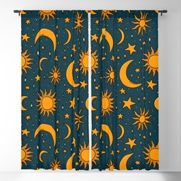 Vintage Sun and Star Print in Navy Blackout Curtain
