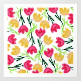 Bright pink mustard yellow watercolor tulip flowers Art Print