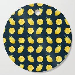 Watercolor Lemon Pattern Cutting Board
