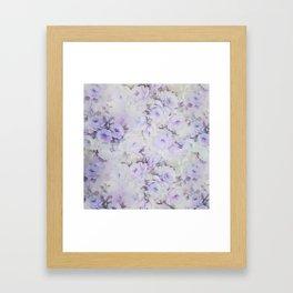 Vintage lavender gray botanical roses floral Framed Art Print