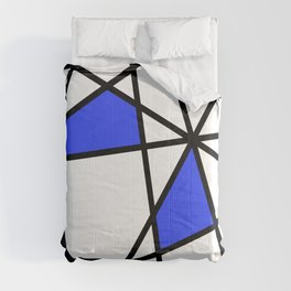 Geometric Modern triangles - white blue Comforters