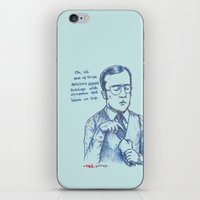 anchorman iPhone & iPod Skins featuring Anchorman: One of Those Delicious Falafel Hotdogs by Red Misery