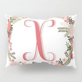 Personal monogram letter 'X' flower wreath Pillow Sham