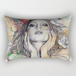 The Withering Spring I | nude tattoo woman portrait Rectangular Pillow
