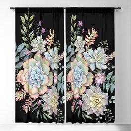 Watercolor Succulents #98 Blackout Curtain