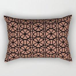 Circle Heaven on Sherwin Williams Canyon Clay, Overlapping Black Ring Design Rectangular Pillow
