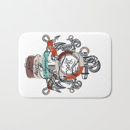 Beautiful marine design, vacation theme with anchor Bath Mat
