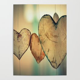 Vintage Boho Chic Bokeh Hearts Wind Chimes Poster