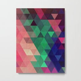 Blue and green triangles Metal Print