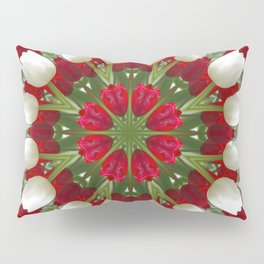 Tulip Kaleidoscope - Red And White Pillow Sham