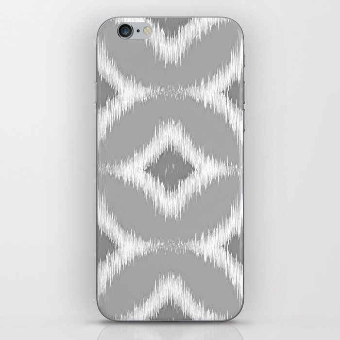 Elegant White Gray Retro Circles Squares Ikat Pattern iPhone Skin