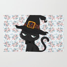 Black Cat - Happy Halloween Rug
