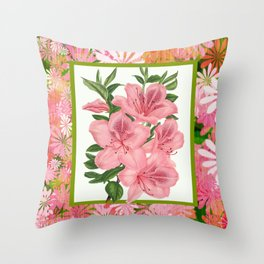 Pink Floral Explosion Throw Pillow
