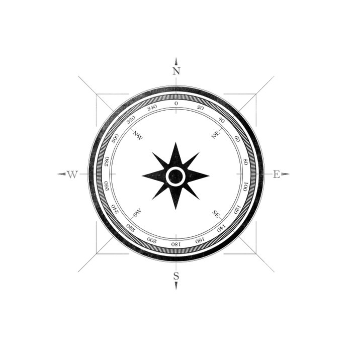 Black Compass on White Duvet Cover