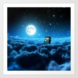 Tardis Cloud And Moon Art Print