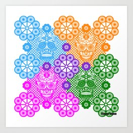 deadly mexican skull picnic pattern ecopop Art Print