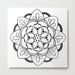 Mandala I - Black and White Metal Print