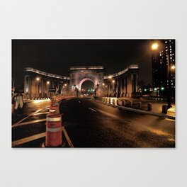 manhattan bridge at night Canvas Print