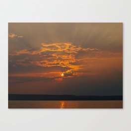 Sunset Rays Over Lake Canvas Print