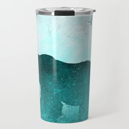 Teal Ghost Bear Travel Mug
