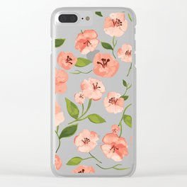 Peach flowers Clear iPhone Case