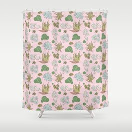 Pastel Succulents and Cacti Shower Curtain