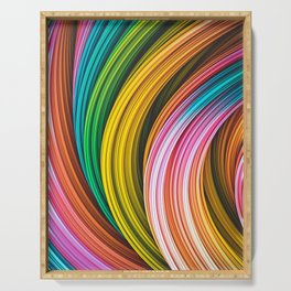 Stranded Strain IV.4 Colorful Abstract Strands Serving Tray