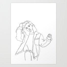 Fashion illustration drawing - Caleb Art Print