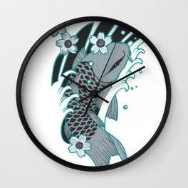 Grey Koi and Four Sakura Wall Clock