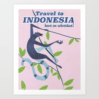travel poster Art Prints featuring Indonesia vintage travel poster by Nick's Emporium