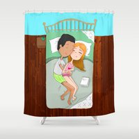sleep Shower Curtains featuring SLEEP by Andrea Lacuesta Art