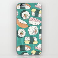 sushi iPhone & iPod Skins featuring Sushi by Abi Woodhouse