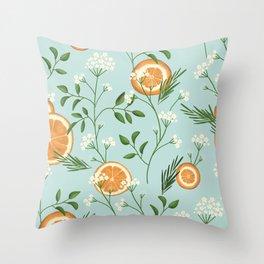 Elderflower & Oranges - Light blue Throw Pillow