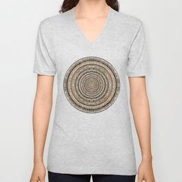 Lace Coin Polka Dots Pattern with Silver Leaf Background Unisex V-Neck