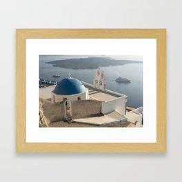 Firostefani Church and Cruise Ships, Santorini Framed Art Print