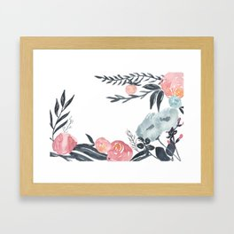 Navy Blush Floral Watercolor Framed Art Print