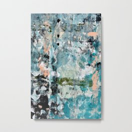 035.3: a vibrant abstract design in green black and blue by Alyssa Hamilton Art Metal Print