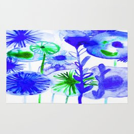Vibrant Blue Lime Green Abstract Flowers Watercolor Rug