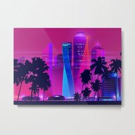 Synthwave Neon City #15 Metal Print